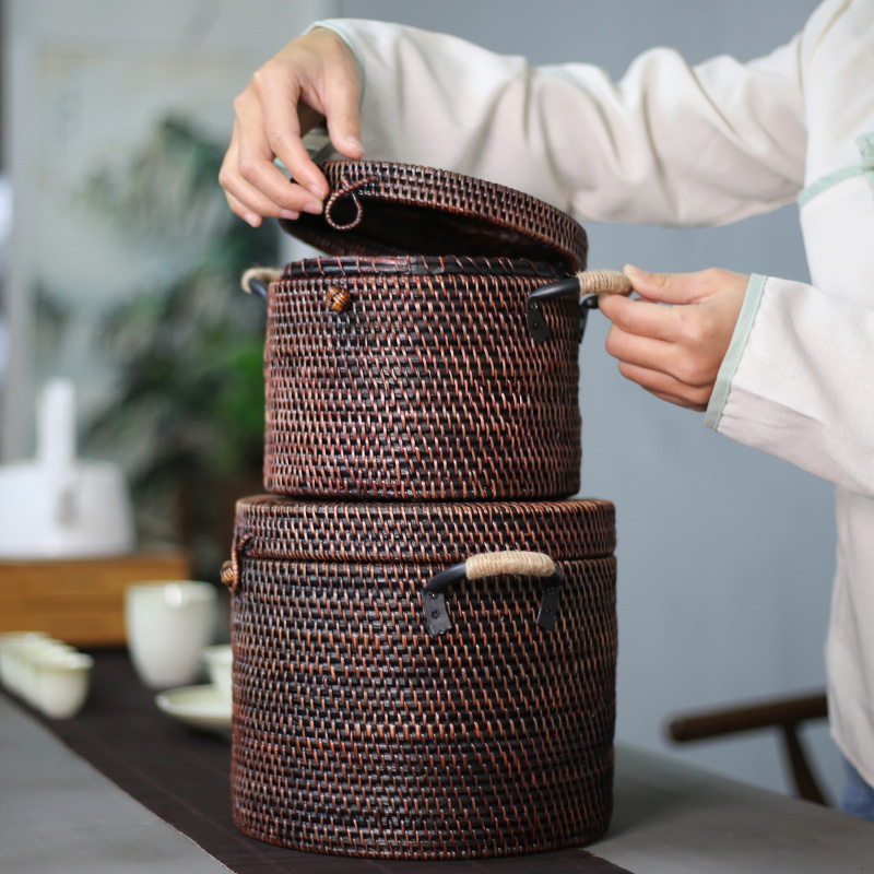 High Quality Hand Made Natural Rattan Pu-Erh Tea Box 2