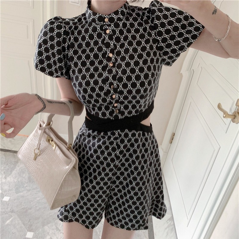 Women Plaid Print Tie Waist Overlap Playsuit Fashion Lady Short Sleeve Grid   Jumpsuit   Rompers Female Summer Casual Overalls 2019