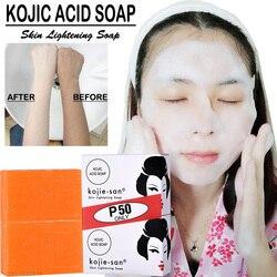 Jabón blanqueador de piel de Kojie San jabón blanqueador de ácido Kojic jabón hecho a mano limpieza profunda iluminar la piel