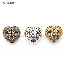 20pcs /lot Fashion Jewelry Finding Hole size 2mm Zinc Alloy Lead Free Nickel Free Heart Shape Beads 14x14mm