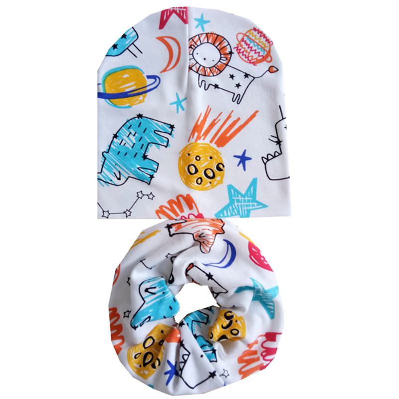 Nice Unisex Hat Set Cartoon Princess Star Print Children Scarf Collar Cap Set Toddler Beanies Autumn Winter Cotton Baby Scarf Hat Set Good For Antipyretic And Throat Soother