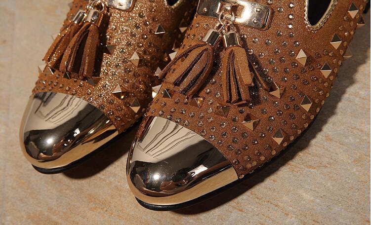 Прямая доставка Мода с бахромой и заклепками, модная обувь для вечеринок Для мужчин Элитный бренд дизайн Повседневное обувь, мужские лоферы... - 2