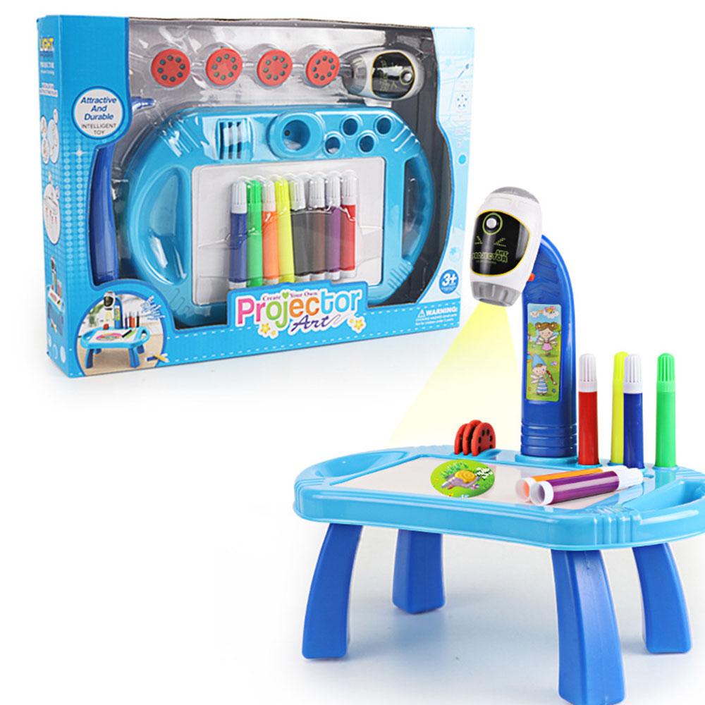 Часы мультики проекционный чертеж машина проектор пластиковый свет светодиодный свет девушка игрушки коллекция Мода Дети обучения Корона - Цвет: blue