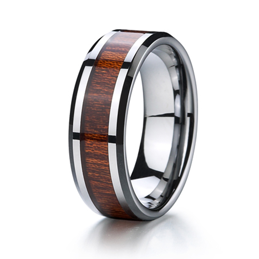 titanium wood ring wedding band men jewelry free shipping classic