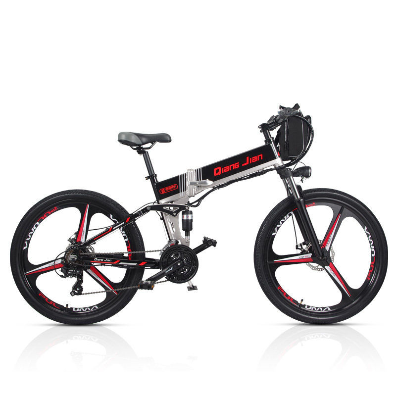 M80 21 Speed Folding Bicycle 48V*350W 26 inch Electric Mountain Bike Dual Suspension With LED Display 5 Pedal Assist