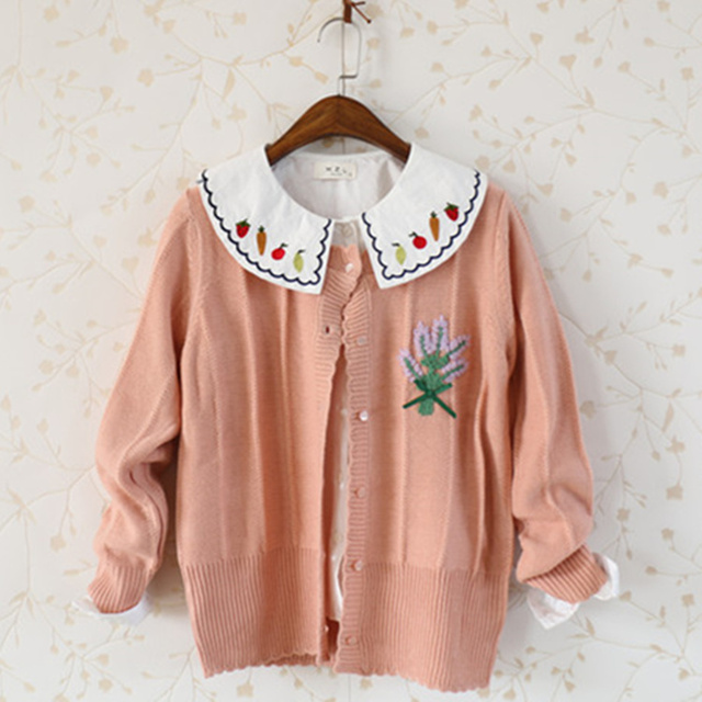 Sweet Mori Girl Flower Embroidered Bow Tie Cardigan Sweater Knit Kimono Cardigan Coat Women Autumn Winter Cardigan Jacket Coats
