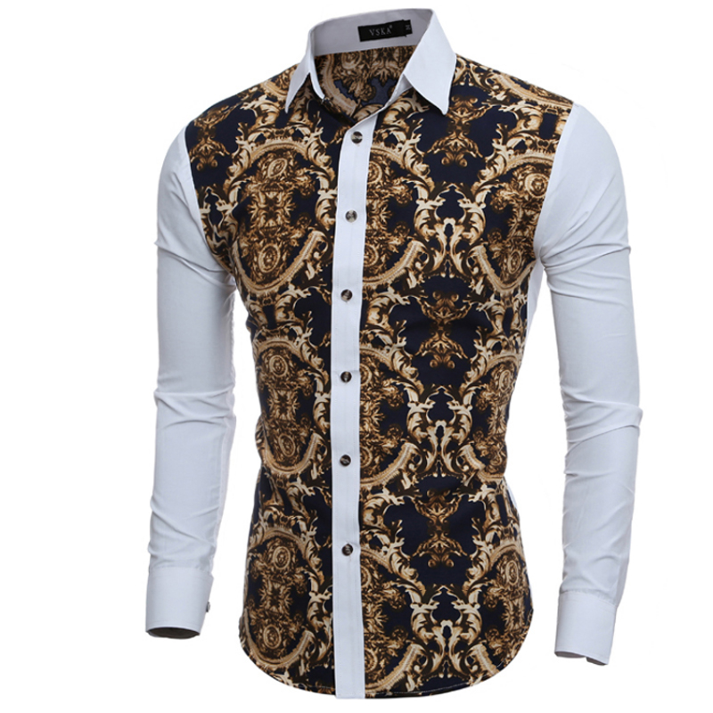 Men shirt luxury brand 2018 male long sleeve shirts casual for Patterned dress shirts for men