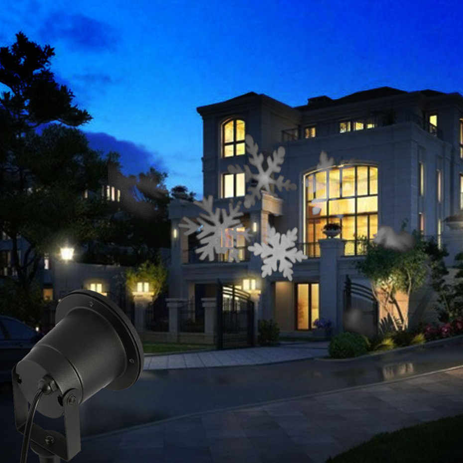 Светодиодный светильник с эффектом снежинки, уличная Рождественская гирлянда, проектор для сада, для отдыха, Рождественская елка, ландшафтное освещение