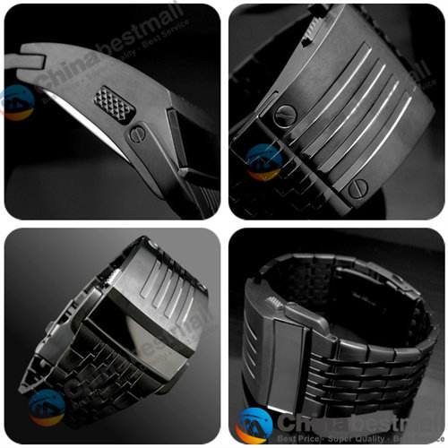 Fashion Luxury Iron Man watches Conception Blue Red LED Mens Stainless Steel Wrist Watch Relogio Masculino Gold Black Silver