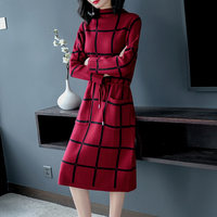 Striped knitted sweater dress red women long sleeve winter 2019 spring party t shirt dresses knitting bodycon robe slim clothes