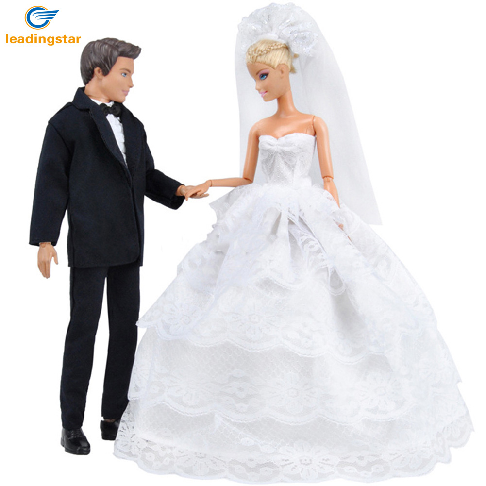 LeadingStar Princess Barbie Doll White Five Layer Lace Wedding Dress and Prince Ken Doll Suit Clothes