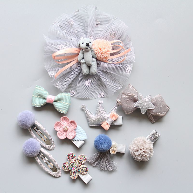 10Pcs Fashion Girls Hairpin Set Flower Bow Cartoon Children Candy Color Hair Accessories Elastic Bands Baby Girl Gift Barrettes 2015 fashion elastic hair bands for women candy color baby girl kids headbands hair ropes headwear hair accessories 20 colors