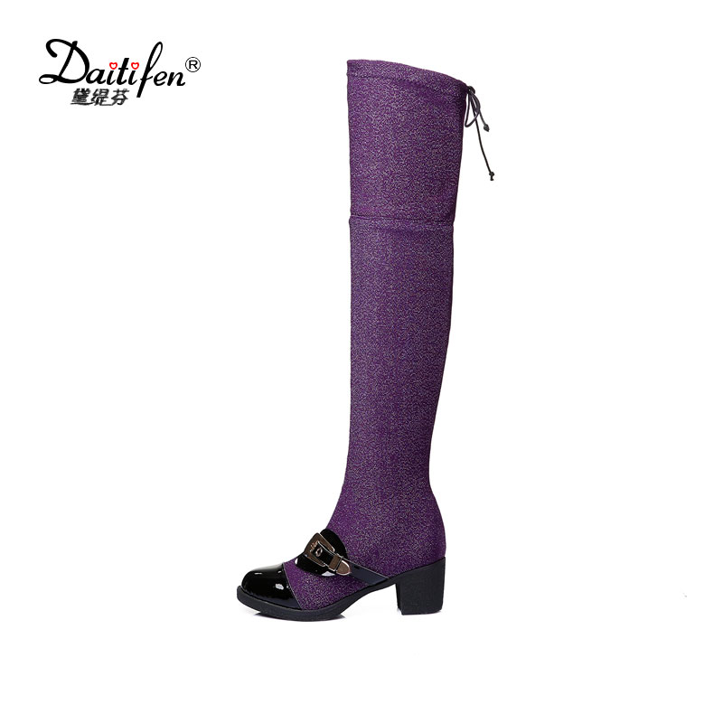 Daitifen Winter/Autumn Thigh High Boots Women Lace Up Heeled Martens Stretch Boots Glitter Punk Platform Long Motorcycle Botas