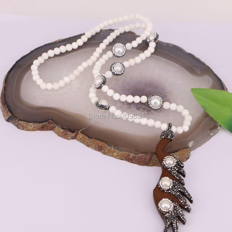 4 шт. смешанные Стиль ручной работы белый нефриты бусы длинное ожерелье, 8 мм бусины ожерелье с жемчугом и деревянные подвески, ювелирные изд...