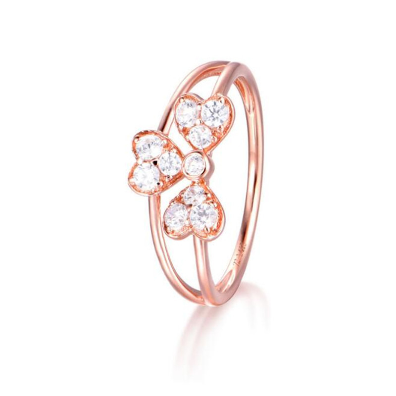 2018 New Luxury Rose Gold Color 3 Pieces Love Heart CZ Crystal Ring 18K Gold Fashion Engagement Rings For Women Wholesale 1.54G new pure au750 rose gold love ring lucky cute letter ring 1 13 1 23g hot sale