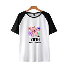 LUCKYFRIDAYF NEW Kpop 2019 Year Of The Pig trend Raglan Short Sleeve Summer T-shirt Women/Men T-shirts Women Cotton Soft Unisex
