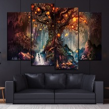 Forest Fantasy Luminous Painting 4 Piece Style Picture Canvas Printing Type Modern Home Decor Wall Artwork Poster Framework