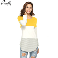 PEONFLY 3 Colors Patchwork Striped T Shirt Women Fashion Women Long Sleeve Tops T shirt Female tshirt Tee Shirt Femme