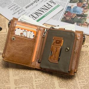 Image 2 - 연락처 정품 가죽 RFID 남자 지갑 신용 카드 소지자 지갑 동전 주머니 키 남자 체인 walet 남성 걸쇠 지갑