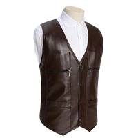 TG6290 Cheap Wholesale 2016 New More Middle Aged And Old Leather Vest And Middle Aged Men