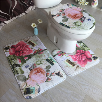 Floral Flannel Bath Mat Bathroom Carpets Set Shower Room Foot Mat Toilet Pedestal Rug Bathroom Bath Mat Anti-slip Floor Rugs bohemian floral antiskid bath rug