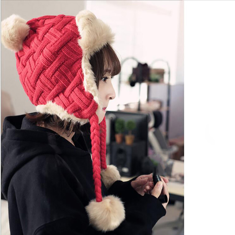 Korean Version Of The Tide Thickening Knitted Bomber Hats Autumn And Winter Plus Velvet Lei Feng Hat Earmuffs Warm Cap