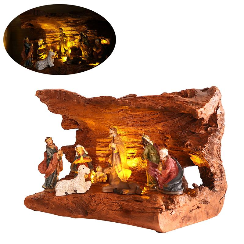 resin led nativity figurine set christmas nativity jesus manger set christmas decorations for home ornaments in figurines miniatures from home garden on - Jesus Christmas Decorations