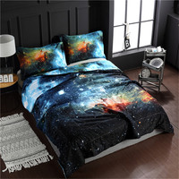 WINLIFE 3D Galaxy Comforter Set Bedspreads/Coverlet Sets with 2 Matching Pillow Covers