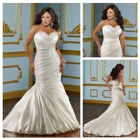 Ivory Satin Mermaid Design Corset Back Short Train Fat Size Wedding Dress 2013