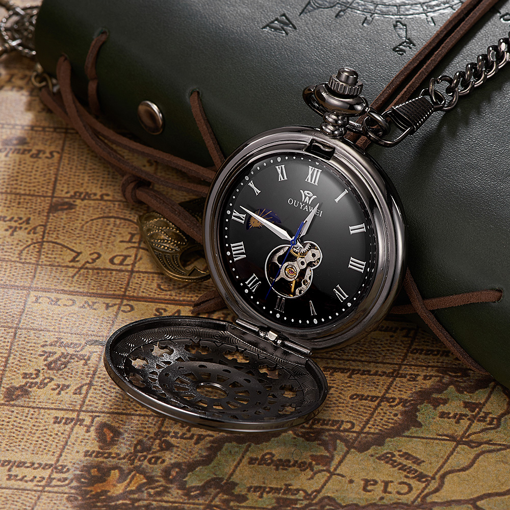 Original Fashion Brand OYW Full Steel Case Analog Pocket Watch Men Male Mechanical Hand Wind Pocket Fob Watch Steampunk Relogio