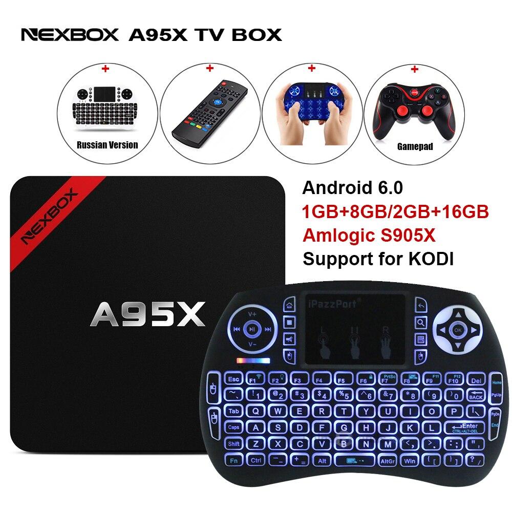 Max 2 GB RAM 16 GB ROM NEXBOX A95X Smart Android 6.0 TV Box Amlogic S905X Quad core Set Top Box WiFi 4 Karat Media Player PK X96