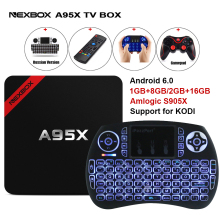 Max 2 GB RAM 16 GB ROM NEXBOX A95X Inteligentny Android 6.0 TV Box S905X Amlogic Quad core Set Top Box WiFi 4 K Media Player PK X96