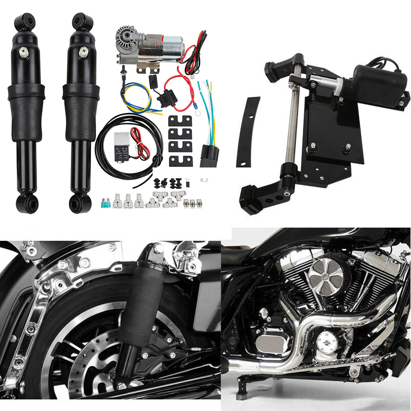 Motorcycle Rear Air Ride Suspension Electric Center Stand For Harley Touring Electra Street Glide Road King FLTC FLH FLHX 09 16