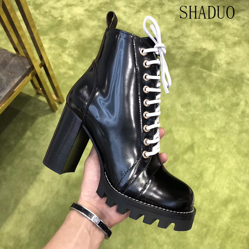 2018 shaduo women top quality Cowhide patent leather lace up ankle boots platform high heel zipper