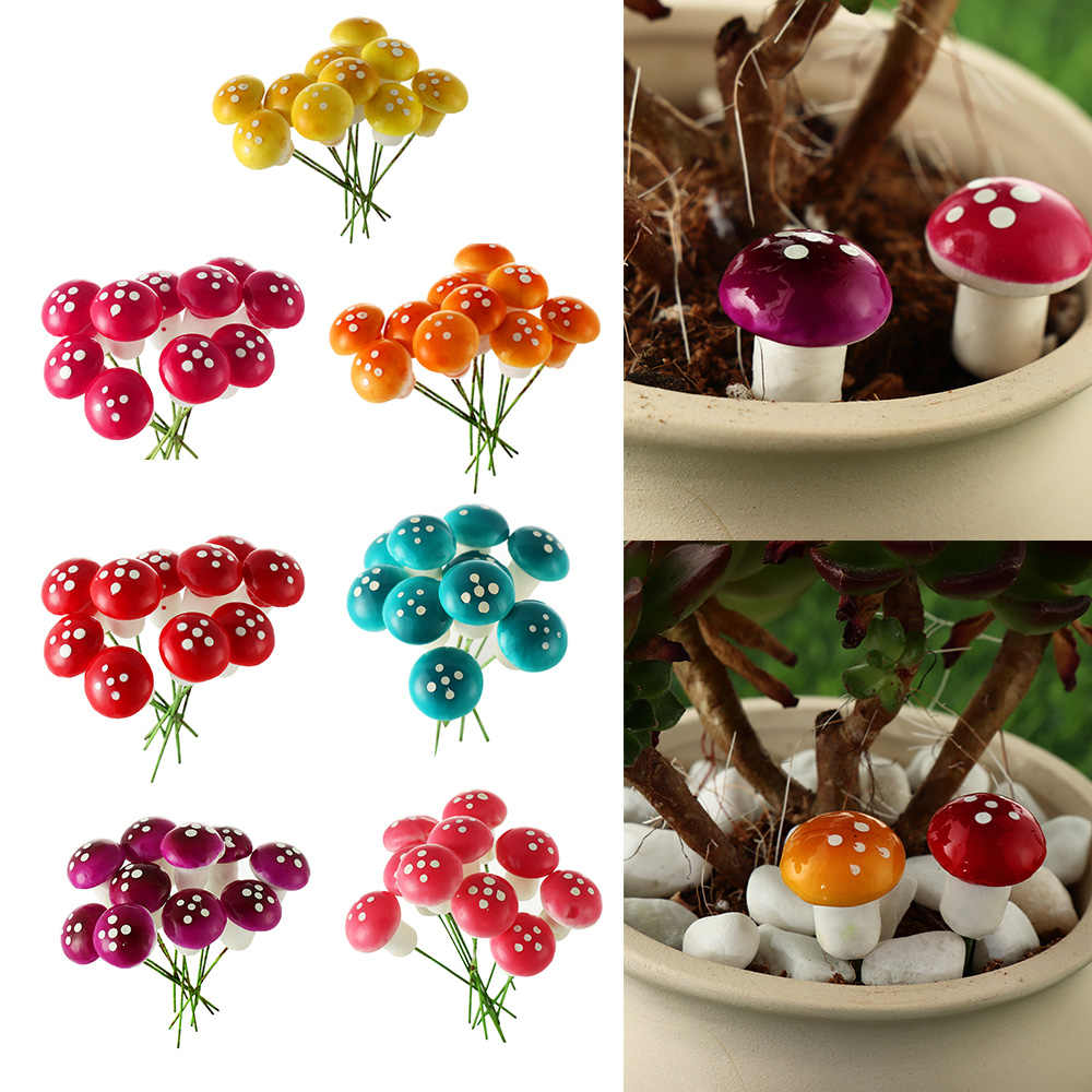 10Pcs DIY Artificial Mini Mushroom Miniatures Fairy Garden Ornament Moss Terrarium Resin Crafts Decorations Stakes Craft