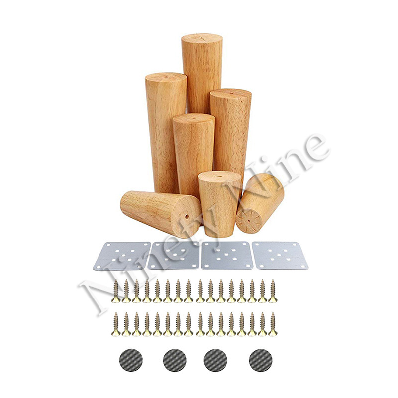 4Pcs High 6/8/10/12/15/18/20/25/30cm Furniture Legs Sofa Support Legs Solid Wood Bed/Tv Cabinet/Coffee Table Replacement Feet