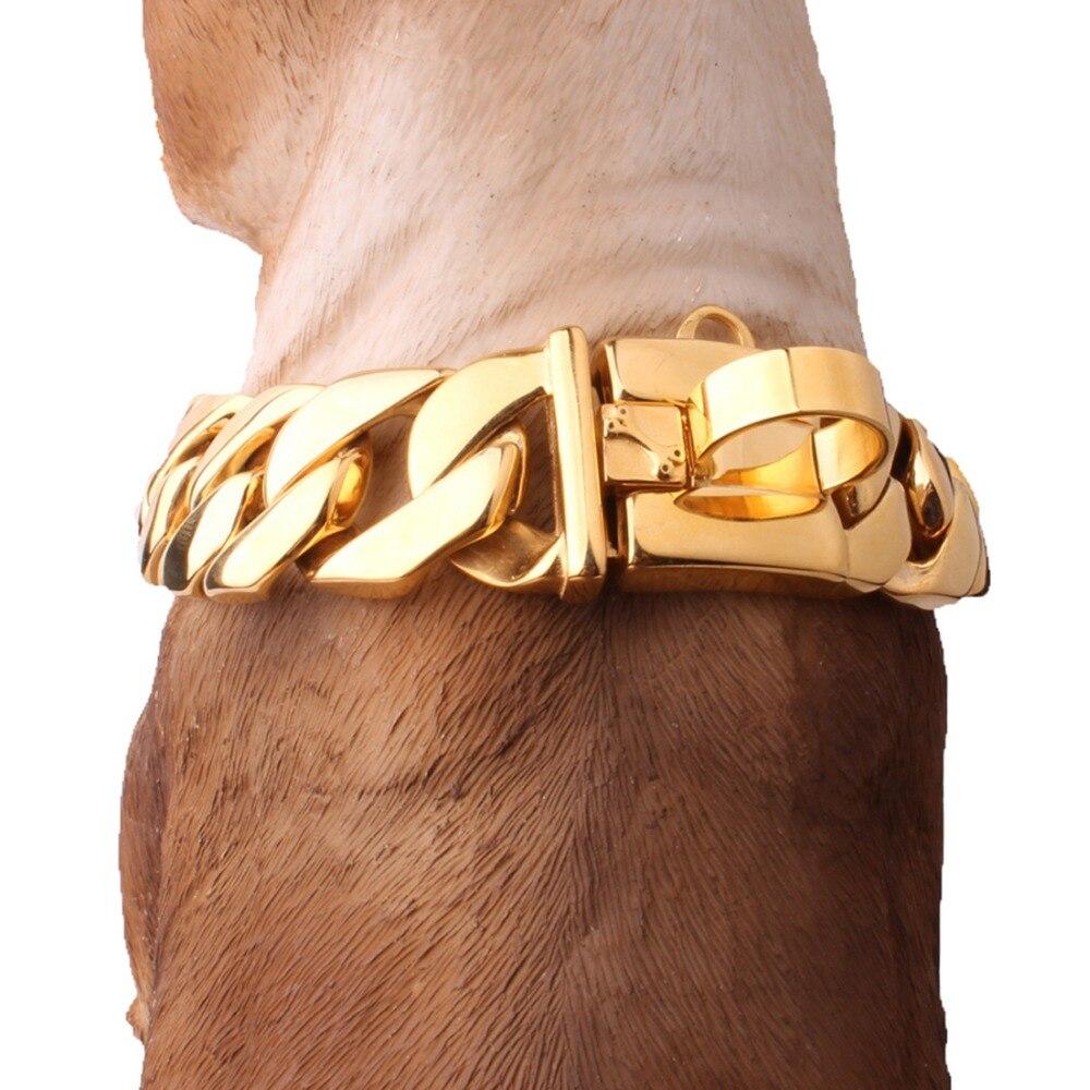 24/30 MM Cool forte en acier inoxydable 316L ton or chaîne à maillons cubains chaîne grand collier pour chiens de compagnie collier ras du cou 18-26