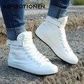 2016 Nova Primavera/Outono Homens Sapatos Casuais Respirável Preto High-top Lace-up Sapatos de Lona Alpercatas Moda Apartamentos dos homens brancos