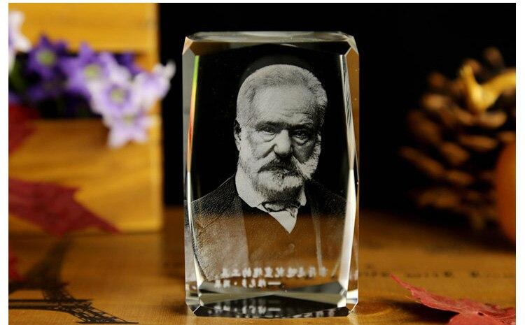 BEST Christmas present -limited edition TOP Decor art France Victor Hugo 3D Crystal Image Decoration