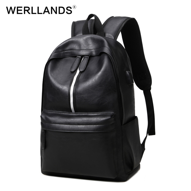 78e541837ff5 WERLLANDS Simple Fashion PU Backpack Large Striped Bag Cool Men Women  Unisex Bag PU Leather Waterproof Dayback 2017 New Design