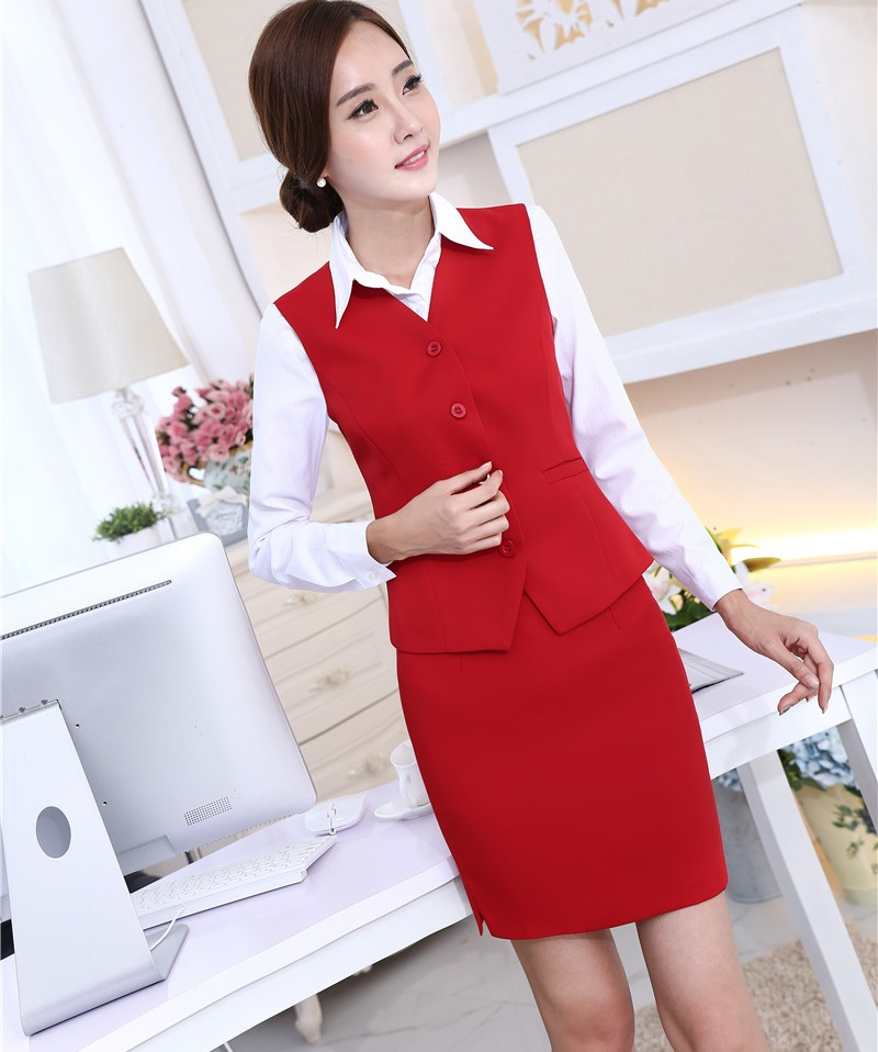 Big Sale Novelty Red Spring Summer Professional Business Work Suits Vest And Skirts Office Ladies Blazers Outfits Sets Uniform Design February 2021