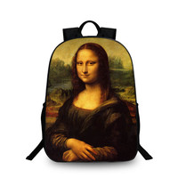Fashion Special Pattern Design Cute Creative Oil Painting Mona Lisa School Laptop Backpacks Kitty Large Cool