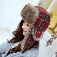 2015 New faux fur bomber hats Women mens trapper hats warm winter Aviator hat plaid cotton Helmet caps hunting hat ski cap