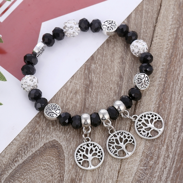 Minhin African Beads Bracelet Bangle Silver Tree Pendant Elastic Bracelets Women Handmade Beaded Charm Pulseira