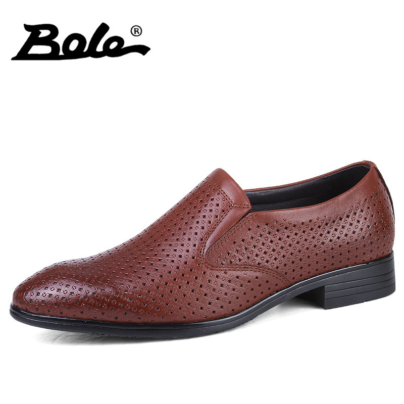 BOLE Punching Breathable Business Casual Shoes For Men Design Slip on Cozy Dress Shoes Handmade Leather Men Shoes Big Size 35-50 bole men high top shoes punching breathable leather men shoes fashion design lace up business casual shoes men shoes size 37 50
