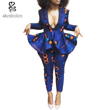 spring autumn winter 2017 African dresses for women ankara wax batik print pure cotton 2 pieces long sleeve coat+long pants suit