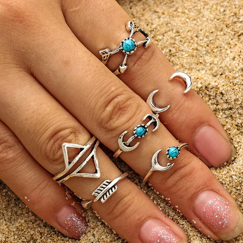 Fashion Bohemia Midi Rings  For Women Antique Silver Color Totem Turquoises Knuckle Ring On Foreign Trade