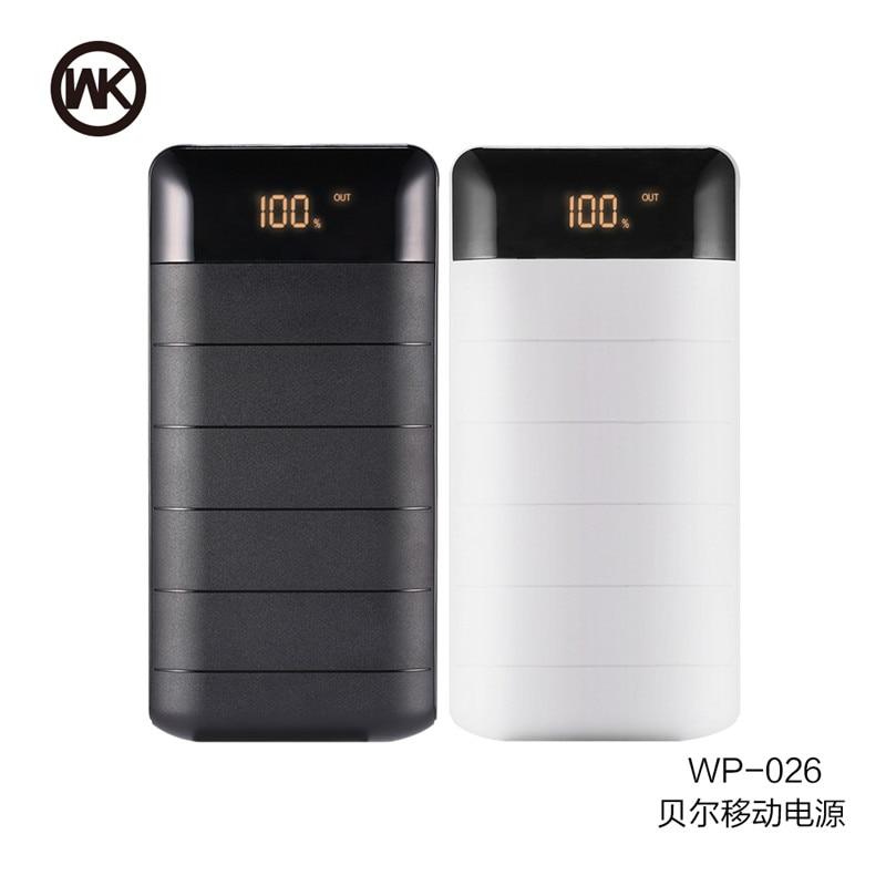imágenes para REMAX WK PoverBank Externo Portátil banco de la Energía 20000 mAh Ultra Delgada de Metal Cargador de Batería 2 USB Para el iphone 6 6 s Todos Los Teléfonos