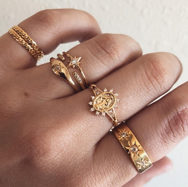 7 Pcs/Set Bohemian Vintage Flower Knuckle Rings Set 2019 For Women Gold Colour Crystal Arrow Ring Party Jewelry