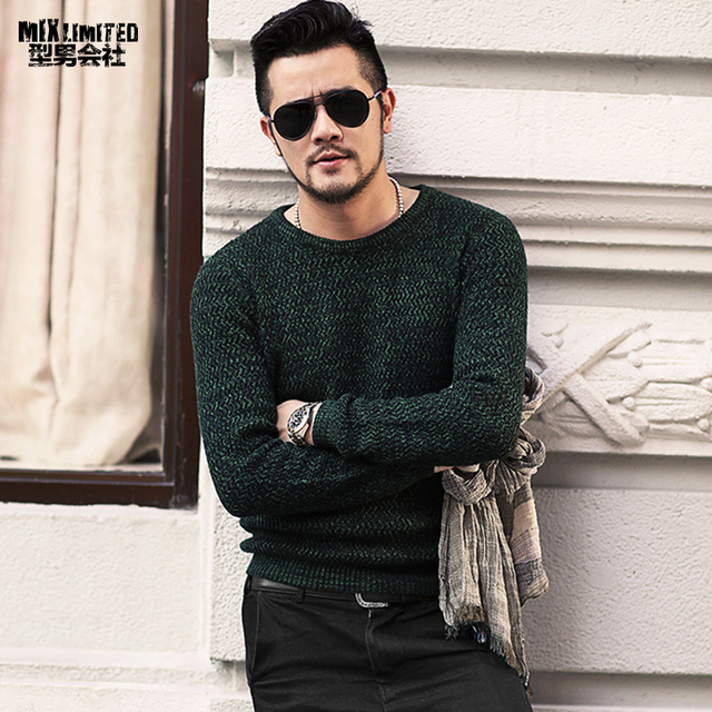 376c52a23 US $28.31 46% OFF Aliexpress.com : Buy New Dark Green Mixed Colour Men's  Round Collar Sweater for Winter Wear Men's Slim Long Sleeve Casual Warm ...